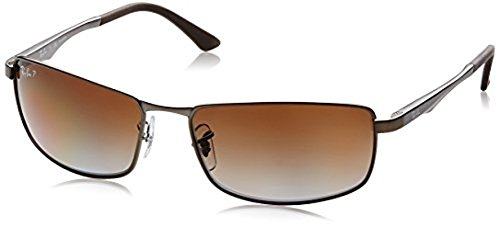 Ray-Ban RB3498 Sunglasses Matte Gunmetal / Grey Gradient Brown Polar 61mm & Cleaning Kit - Off Ray Ban