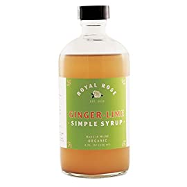 Royal Rose Ginger Lime Simple Syrup, 8 Fluid Ounce 28 Flavor Profile: Spicy ginger, tangy and tart lime juice and zest. Mixing Notes: Pairs well with vodka, rum, whiskey, and more. Makes a mean soda. Made by Hand in Small Batches