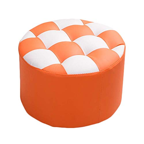 RMJAI Household Footstool Foot Rest Makeup Dresser Sofa Tea Coffee Table Stool Pouffe Seat Ottoman Bench Chair Suitable for Living Room Bedrooms(15.7x15.7x10.2 Inches) (Color : Orange)