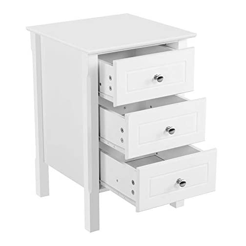 Yaheetech White Wood Nightstand 3 Drawers Bedside Table Cabinet with Solid Wood Legs Bedroom Furnitu