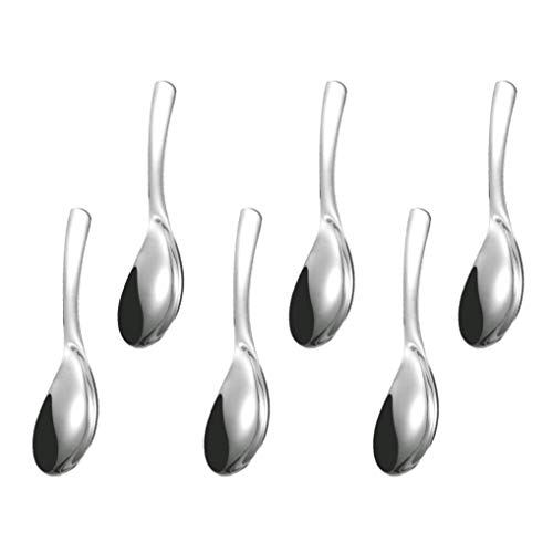 GuDoQi 6 Pack Soup Spoon 304 Stainless Steel Table Spoon 6 Inch Polished Titanium Plated Dinner Spoon Deepen Thicken Large Capacity for Soup Rice Desert (Silver)