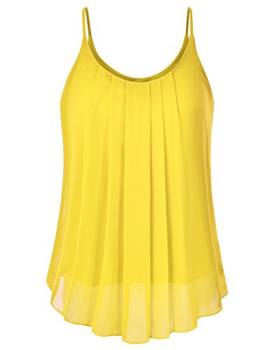 (EIMIN Women's Pleated Chiffon Layered Sleeveless Cami Tank Tunic Top Yellow S)