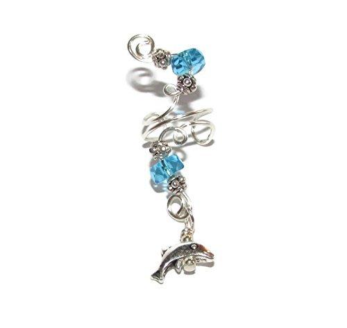 Aqua Blue Glass & DOLPHIN CHARM ()