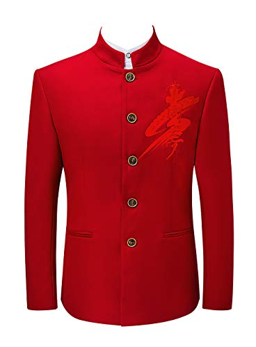 Hommes Trois Montant Chinois Costume Mogu Pièces Rouge Style Col TWqfwBxzdB