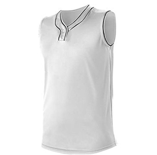 Alleson Athletic Women's One Button Softball Jersey -Medium (M) - White/Black - Piping Jersey Softball