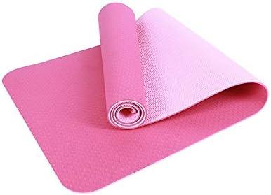 Eco friendly 環境保護TPEノンスリップヨガマットエクササイズマット太い6.5ミリメートル、ヨガのすべてのタイプに適した、ピラティス、床運動183センチメートル×63センチメートル exercise (色 : Pink)