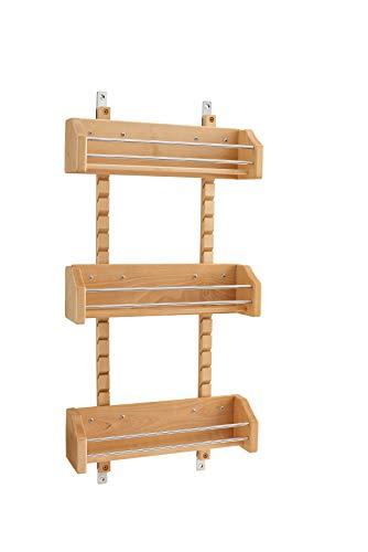 - Rev-A-Shelf - 4ASR-18 - Medium Cabinet Door Mount Wood Adjustable 3-Shelf Spice Rack