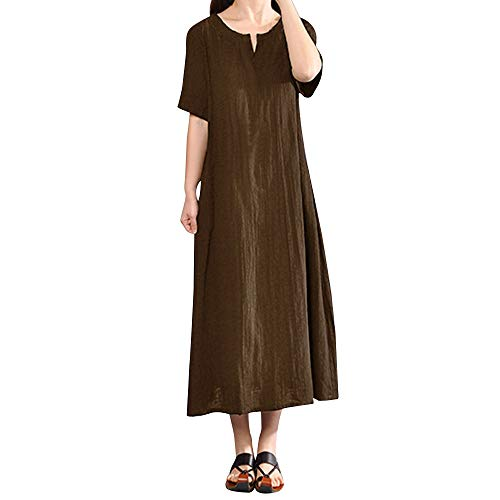 - Women's Casual Loose Maxi Long Dress Vintage Short Sleeve Cotton Linen Dress Summer V Neck Plus Size Maxi Dress Myoumobi Coffee