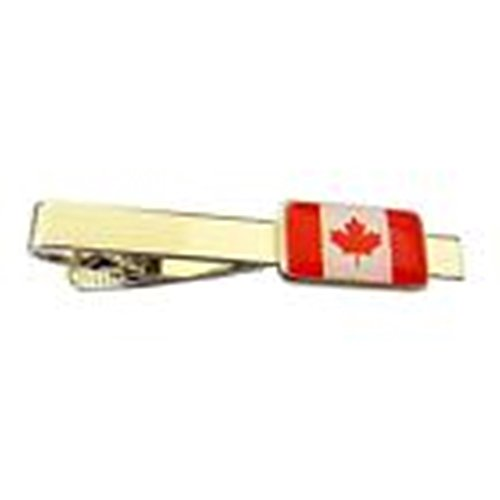 [Mondaily - Canada Flag Maple Leaf Canadian L'Unifoli้ Tie Clip Silver Black Bar Clasp] (Cats Musical Costume Rental)