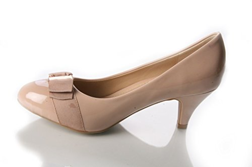 WOMENS LADIES MID HEEL PATENT STILETTO COURT PUMP WORK PARTY SHOES SIZES 3-8 Nude ufIW5
