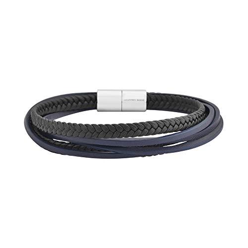 - Geoffrey Beene Men's Multi-Strand Braided Genuine Leather Bracelet with Stainless Steel Magnetic Closure, Black/Navy
