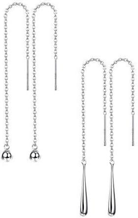 Heart Threader Earrings-Sterling Silver Ear Threads-Tiny Heart Earrings-Gift Ideas-Friendship Gift