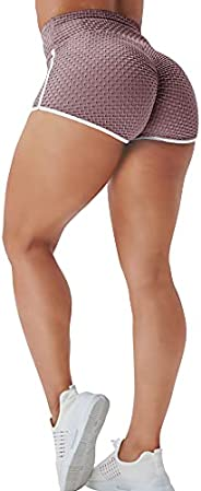 YEOREO Women's Butt Lifting High Waist Adjustable Yoga Shorts Ruched Textured Hot Pants Exercise Leisure S