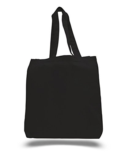 (3 Pack) Set of 3 Cotton Tote Bags Wholesale with Bottom Gusset (Black) -