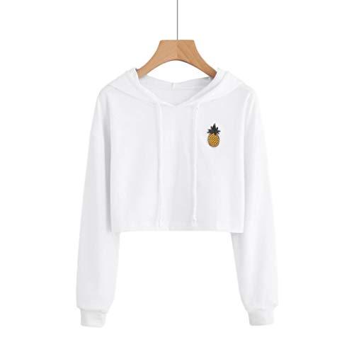 zahuihuiM Femmes Blouse Hiver Nouvelles 2018 Mode Manches Tops Casual Capuche Sweatshirt Court Manteau Blanc d'impression Longues 4wxFXnHr4q
