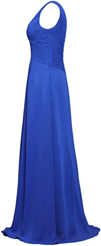 Dresses ANTS Long Neck Gowns Bridesmaid V Sleeveless Women's Chiffon Cyan vwYr6qv