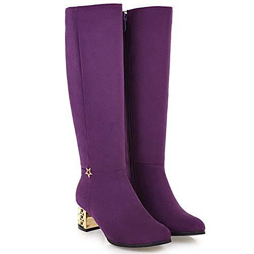 Boots Taoffen Half Heel Purple Comfort Women Block 4RWRxzUq