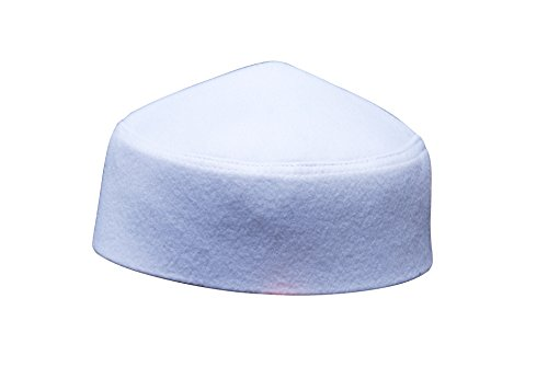 (TheKufi Solid White Moroccan Fez-Style Kufi Hat Cap w/Pointed Top (L))