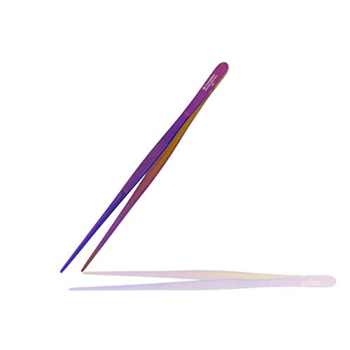 """Cynamed 10"""" Kitchen Premium Tongs Tweezers Stainless Steel, Long with Precision Serrated Tips (Purple)"""