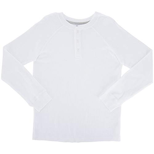 French Toast Boys' Little Long Sleeve Thermal Raglan Henley, White, 4