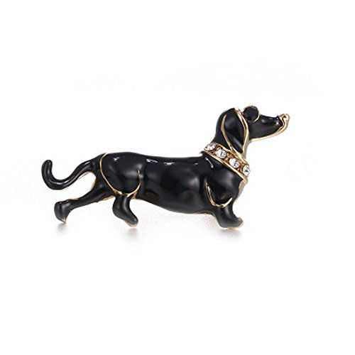 Sterling French Cross Silver (Botrong® Cute Enamel Dachshund Dog Animal Brooch Pin for Women men Kids Jewelry Gift (Style B))