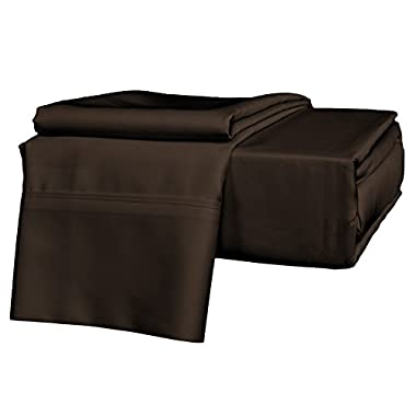 Brielle 630 Thread Count Egyptian Cotton Sateen Premium 600 Plus Sheet Set, Queen, Chocolate