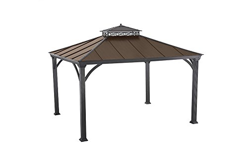 Sunjoy 12′ x 10'Two-Tier Hardtop Gazebo, Matt Black Poles and Frame with Rich Brown Proof For Sale