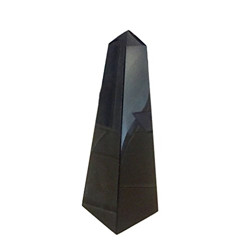 Sparkle Rock Pop Black Obsidian Crystal Generator - Energy Infused, Natural Healing Gemstone - Obelisk Stands 5 inches Tall ()