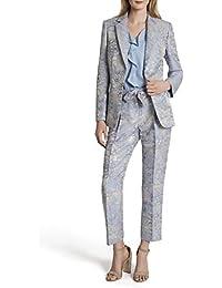 Women's Two Button Flap Pocket Floral Jaquard Jacket
