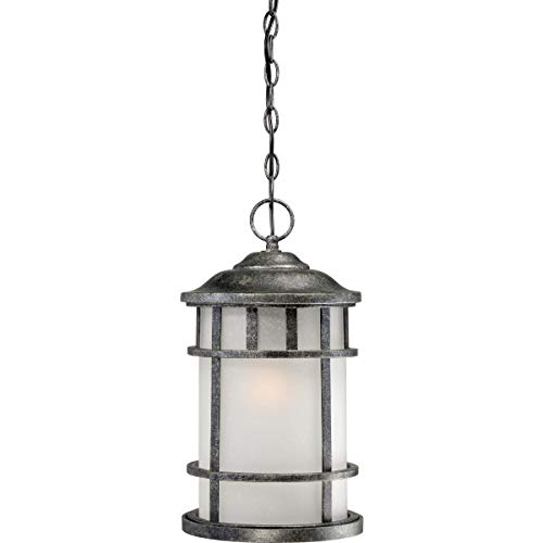 (Nuvo Lighting 60/5634 Manor Industrial Hanging Lantern 100-watt A19 Outdoor Pendant Porch and Patio Lighting Frosted Seed Glass, Aged Silver)