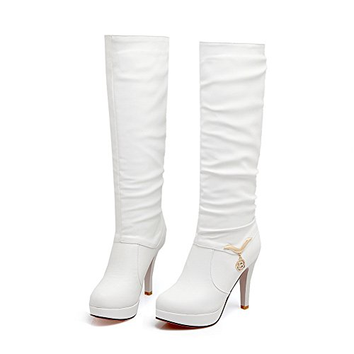 Closure No Boots Womens Metal Buckles Urethane Solid White BalaMasa WqwUTInSw