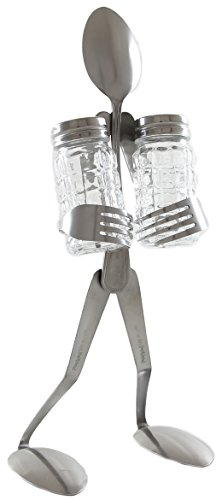 Forked Up Art S01 Spoon Salt and Pepper Stand Table Topper (People Pepper Shakers Salt)