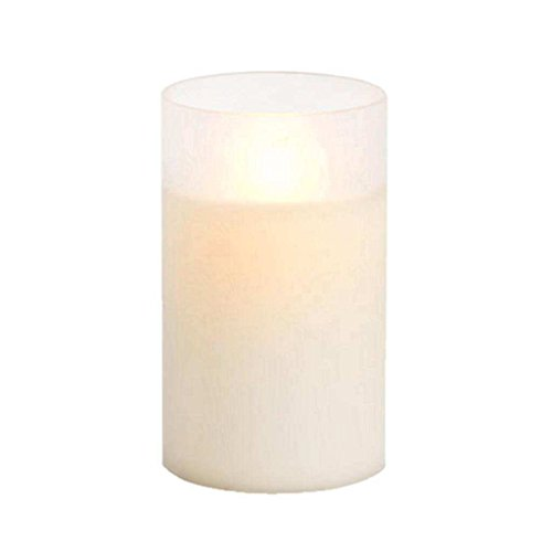 Luminara Flameless Candle in Frosted Glass Cylinder 3.5x6 inch - Ivory - Unscented 10006352