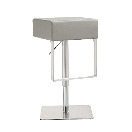 Dining Collection Light - Tov Furniture The Seville Collection Modern Style Eco-Leather Upholstered Steel Base Kitchen Dining Barstool, Light Grey