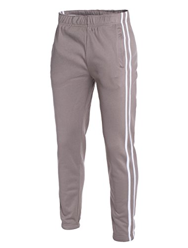 WP Mens Striped Track Joggers Sweatpants Waistband Slim Casual Fleece Lightweight (Safari Jogger)