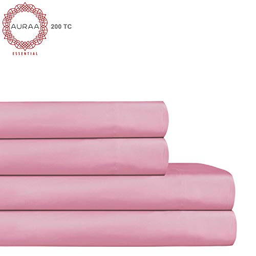 AURAA ESSENTIAL 100% Long Staple Cotton Sheet Set - Queen Sheets - 4 Piece Set, Feather Soft & Smoother Percale Weave, 15