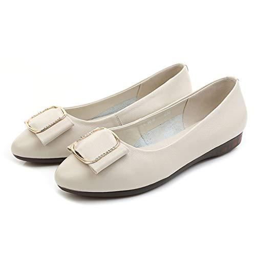Zapatos Pequeños Beige Boca Cabeza Zapatillas Redonda Baja Plana Otoño Inferiores Individuales Primavera Suaves Y qxwgZS