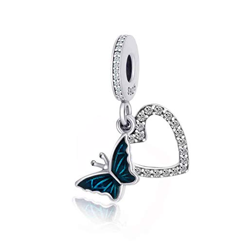 Crystal Butterfly with Heart Shape Dangle Charm 925 Sterling Silver Beads Fit European Bracelet