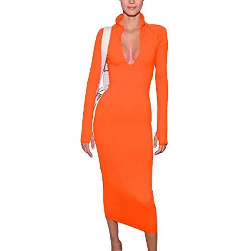 LuFeng Women's Long Sleeve High Neck Zipper Bodycon Slim Fit Dress