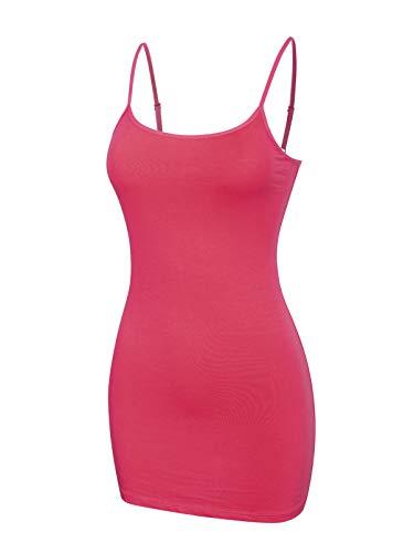 Design by Olivia Women's Women's Basic Solid Long Length Adjustable Spaghetti Strap Tank Top Magenta L