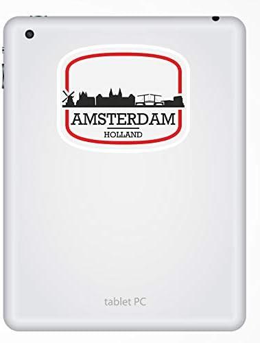 10 cm de ancho 2 x 10 cm Amsterdam Holanda pegatinas de vinilo del viaje del equipaje del ordenador port/átil # 17084