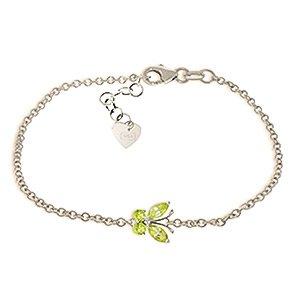 QP bijoutier péridot Bracelet en or blanc 14 carats, 0.60ct coupe Marquise - 5023W