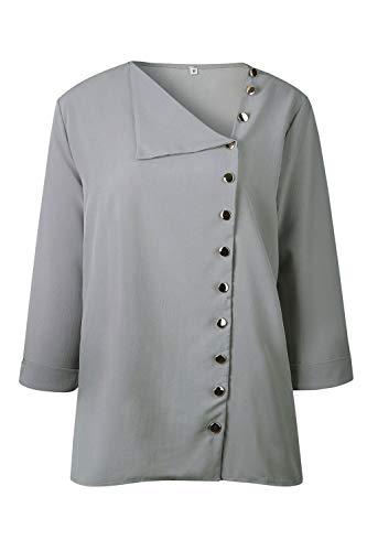 Solido Taglia Chiffon Massimo Zamtapary al Casual Donne Grey di Camicetta di Le Camicie Pulsante xwwt0qA7f