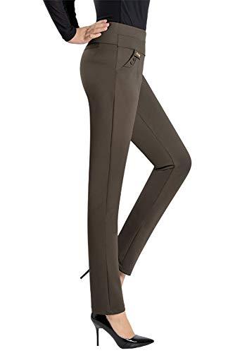 Colore Pantaloni Donn Casual Solido Vita Forti Taglie KINDOYO Alta Elastico Leggings Marrone IzqW6