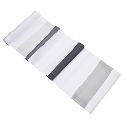 Gray Striped Cotton Italian (Huddleson Cinta Grey & White Stripe Pure Linen Table Runner 14x108)