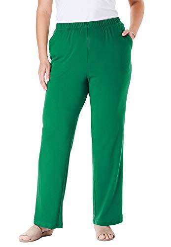 Woman Within Women's Plus Size Tall 7-Day Knit Wide Leg Pant - Foliage Green, 2X