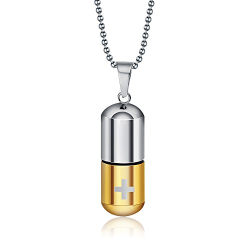 VNOX Jewelry Fashion Stainless Steel Cross Capsule Medicine Pill Pendant Necklace,Gold Plated ()