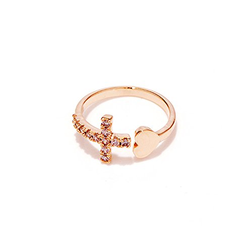 (CHUYUN Rose Gold Love Heart Engagement Ring Jewelry Cross Openning Rhinestone Adjustable Rings for Women)