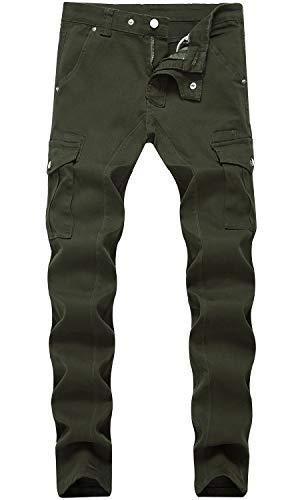 HENGAO Men's Slim Fit Straight Skinny Jeans Cargo Pants, 1756 Army Green, W32