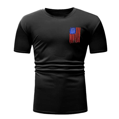 - Nuewofally Mens T-Shirts Graphic Tees Independent Day Tshirt Slim Fit Short Sleeve Flag Printed Blouse Shirt Black